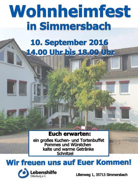 Wohnheimfest; Plakat; Lebenshilfe