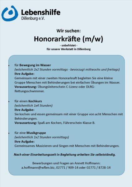 Honorarkraft; Dillenburg; Studium; Soziales; Werkstatt